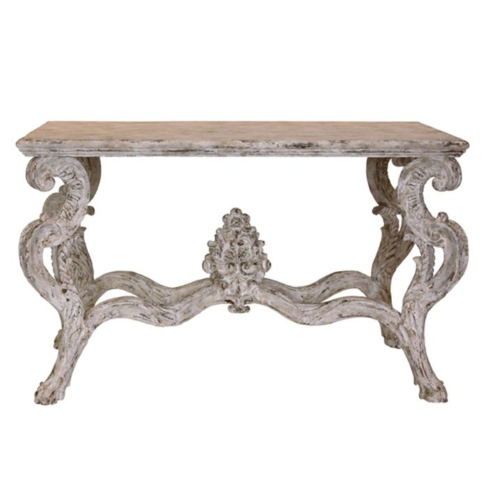 Ornate French Finial Console Table