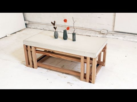 Use Quikrete Countertop Mix And Stair Balusters To Make A Modern Coffee Table With Homemade Modern With Images Concrete Coffee Table Coffee Table Wood Concrete Diy