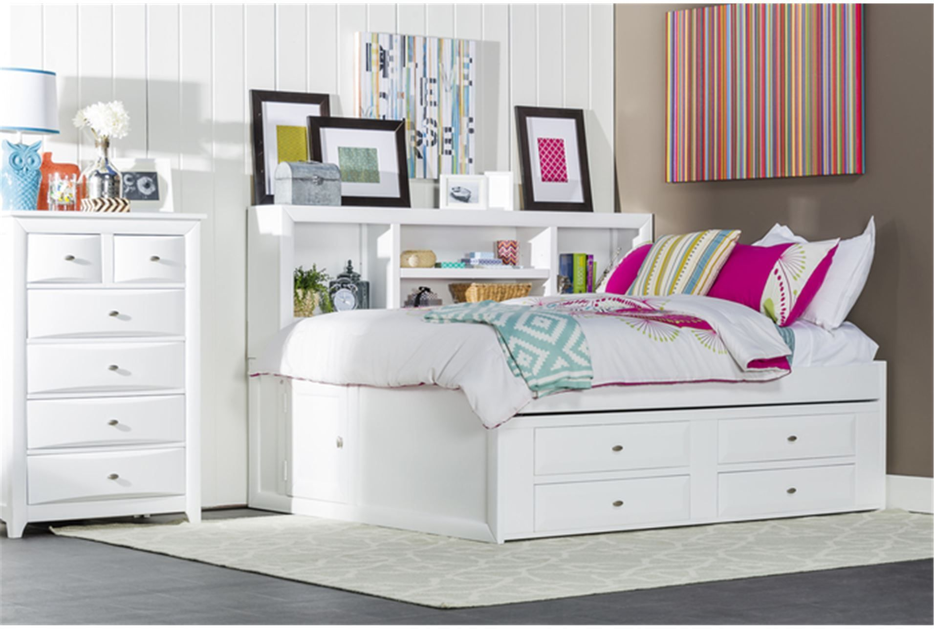 Varsity White Twin Roomsaver Bed W/4 Drawer Captains Unit