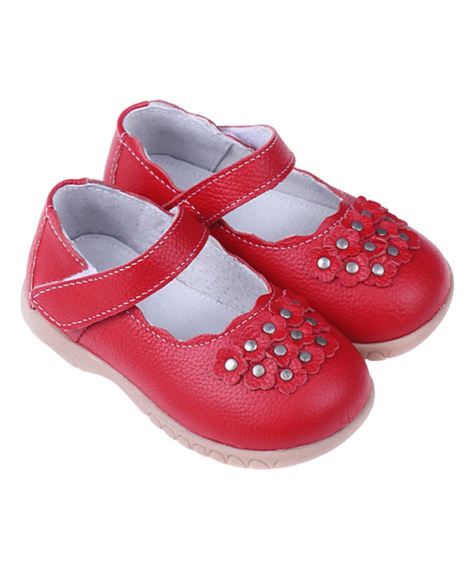 Take a look at this SandQ Baby Red Floral Leather Mary Jane today!