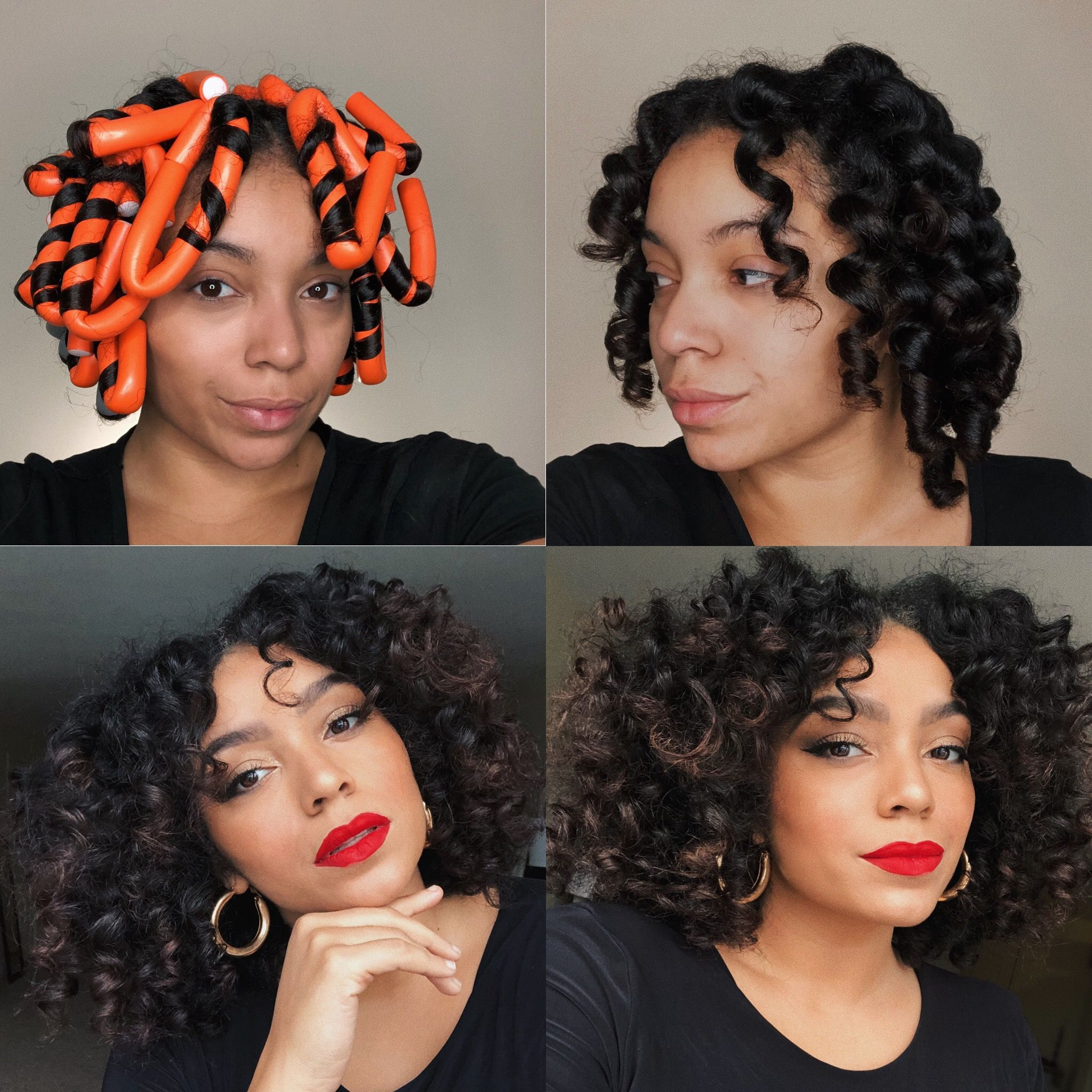 Flexi Rod Set Heatlesscurls Naturalhair Flexirods Short Natural Hair Styles Natural Hair Styles Natural Hair Flexi Rods