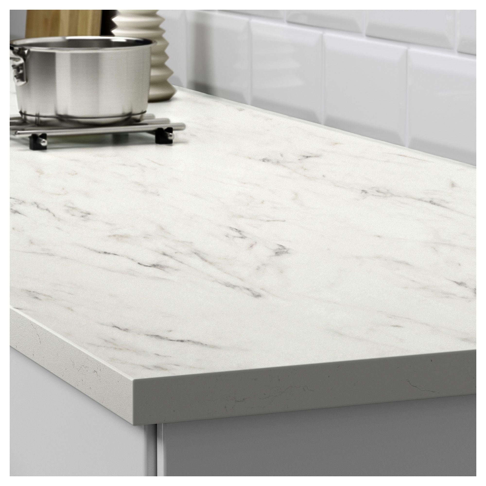 Ekbacken Countertop White Marble Effect Laminate 74x1 1 8