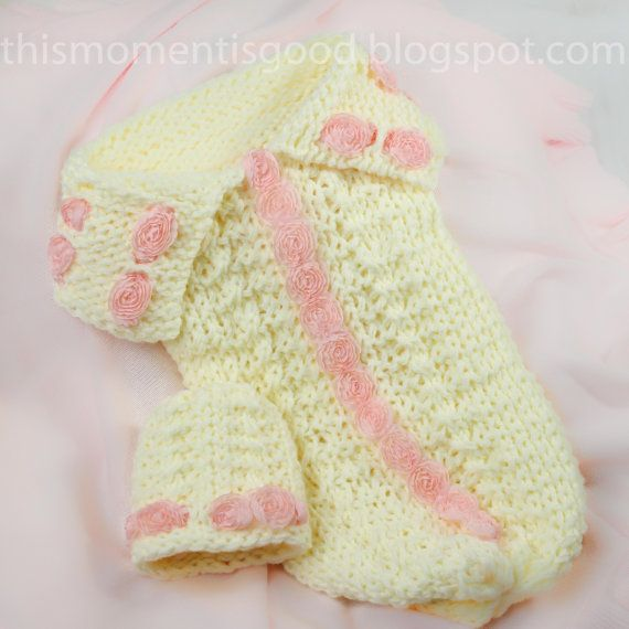 Loom Knit Newborn Cocoon With Roses Pattern Plus Coordinating Hat
