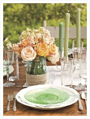 Mason jar centerpiece with garden roses