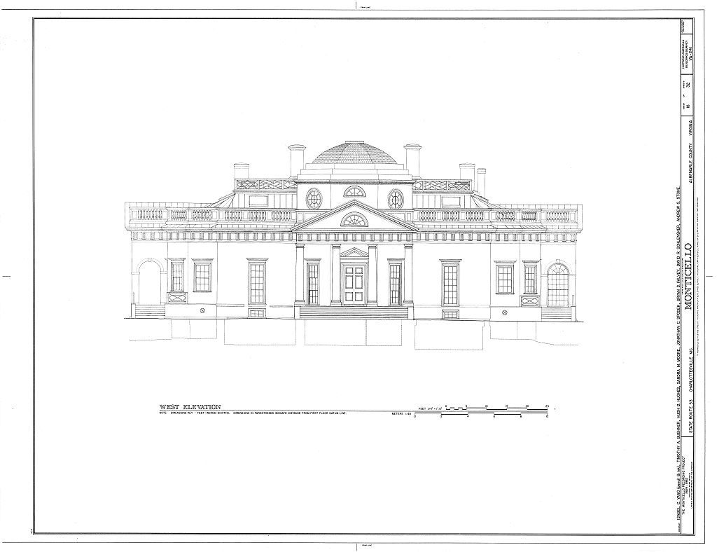 West Elevation Thomas Jefferson Monticello Charlottesville Va Habs Va 2 Char V 1 Sheet 16 Of Monticello Thomas Jefferson Home Architecture Blueprints