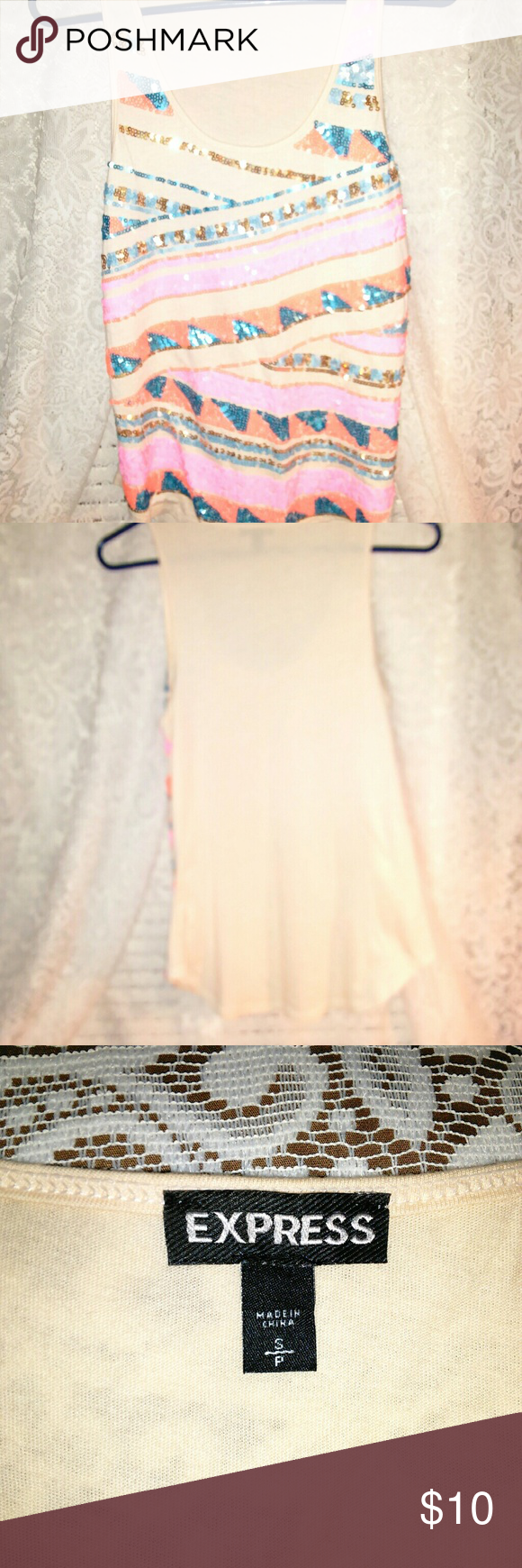 Express tank top Shinny on the front , multicolor , cream color on the back. Cute party tank Express Tops Tank Tops
