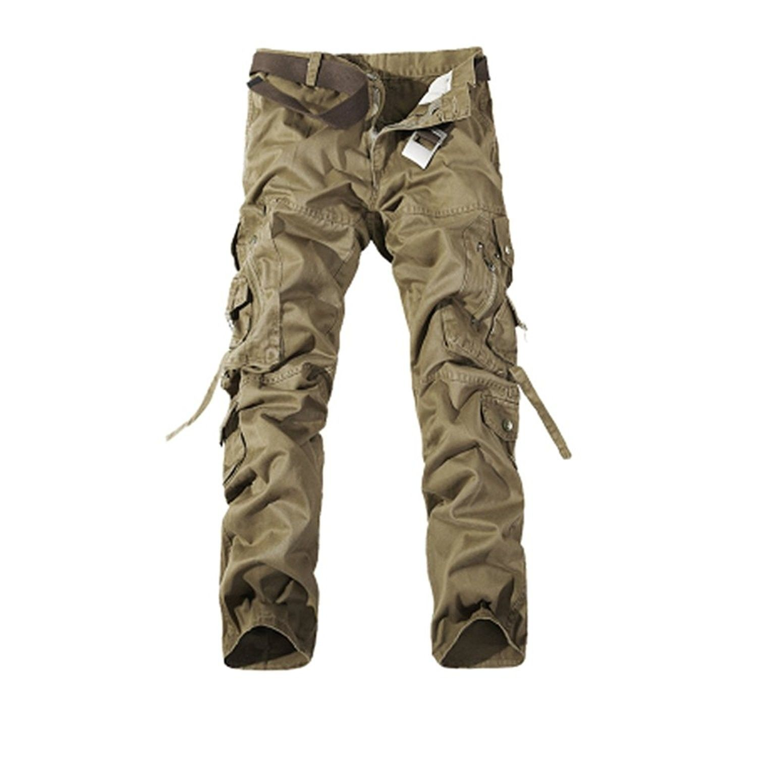 NiuZi Mens Military Cargo Pants Loose Fit Cotton Casual Multi-Pocket Camouflage Cargo Outdoor Work Pants