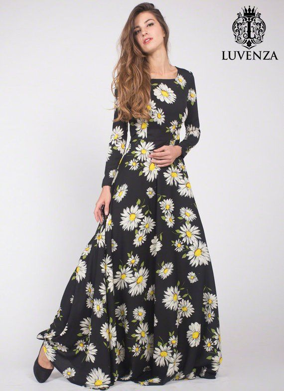 Black Daisy Floral Maxi Dress With Long Sleeves Black Maxi Dress