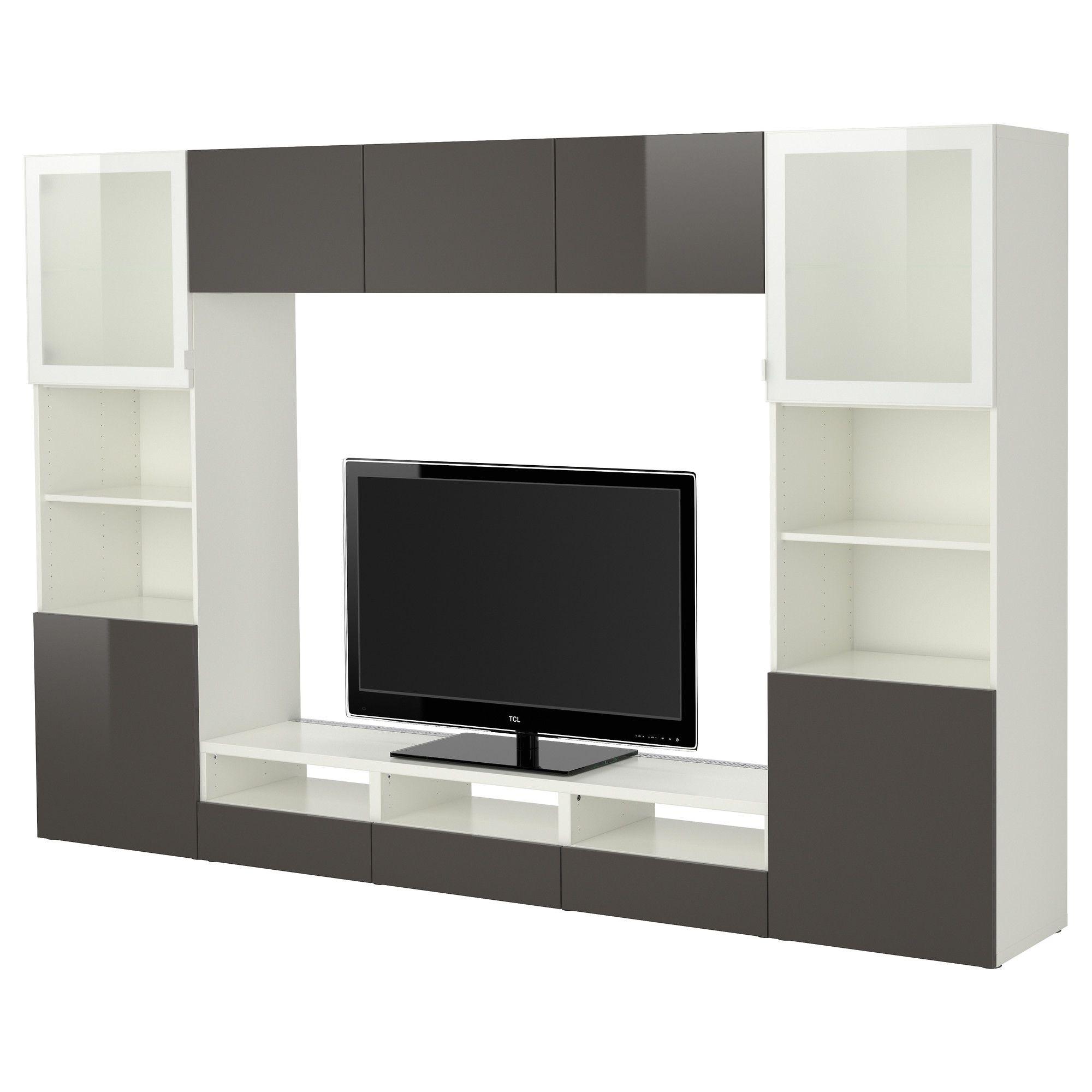 Best Combinaison Rangt Tv Vitrines Blanc Tofta Brillant Gris  # Ikea Meuble Vitrine D'Angle Salon