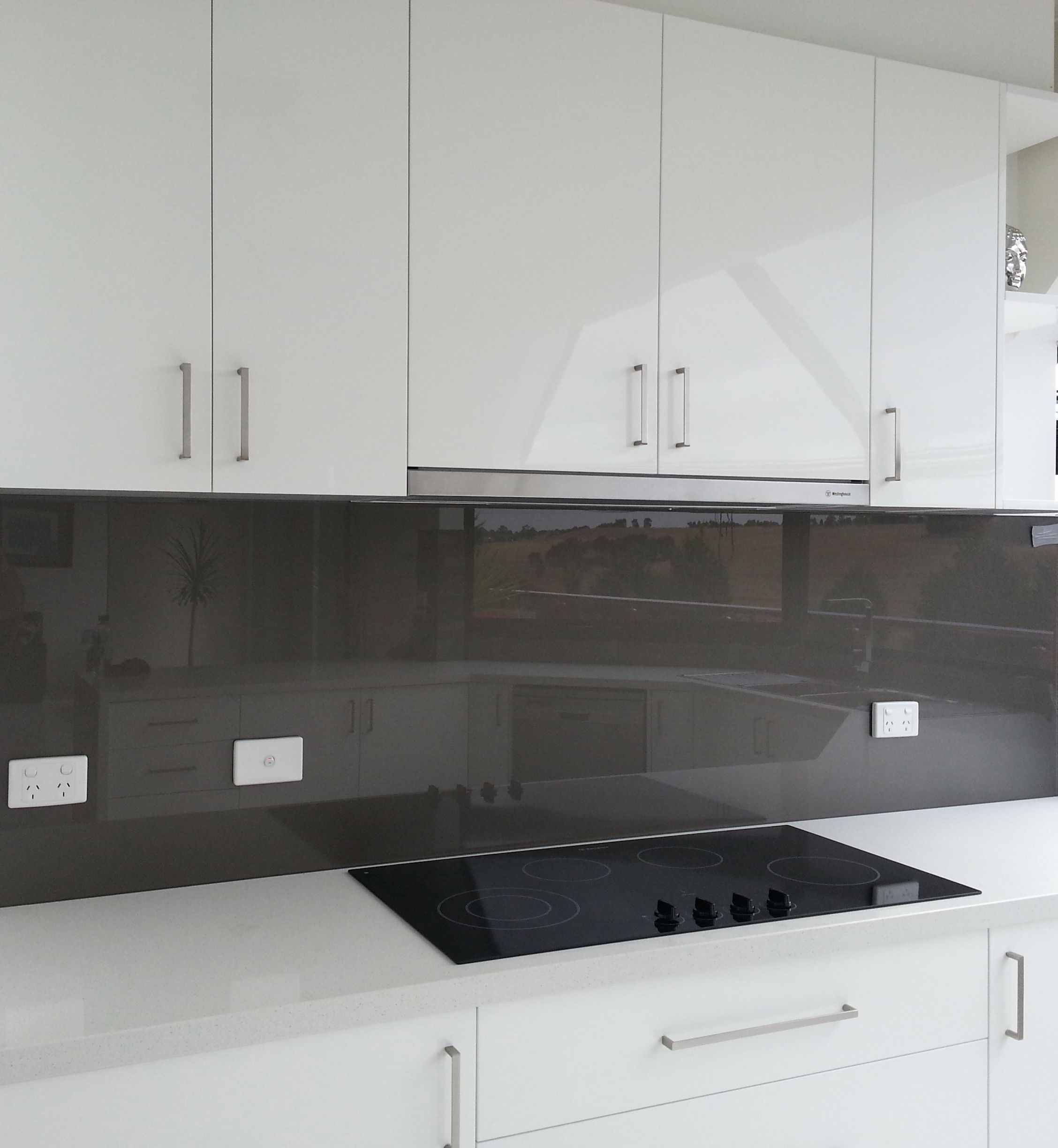 White Kitchen Grey Splashback white kitchen, grey splashback - concealed rangehood | our