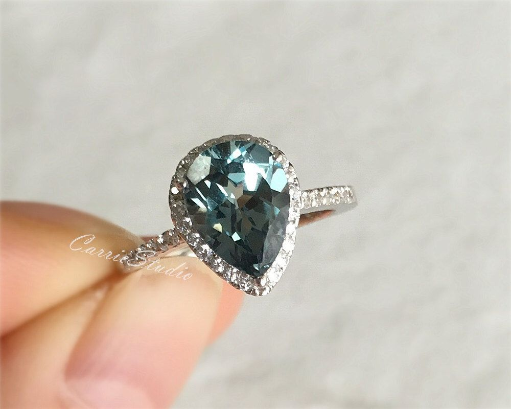 engagement pin silver wedding lab ring sterling pear emerald green corundum rings