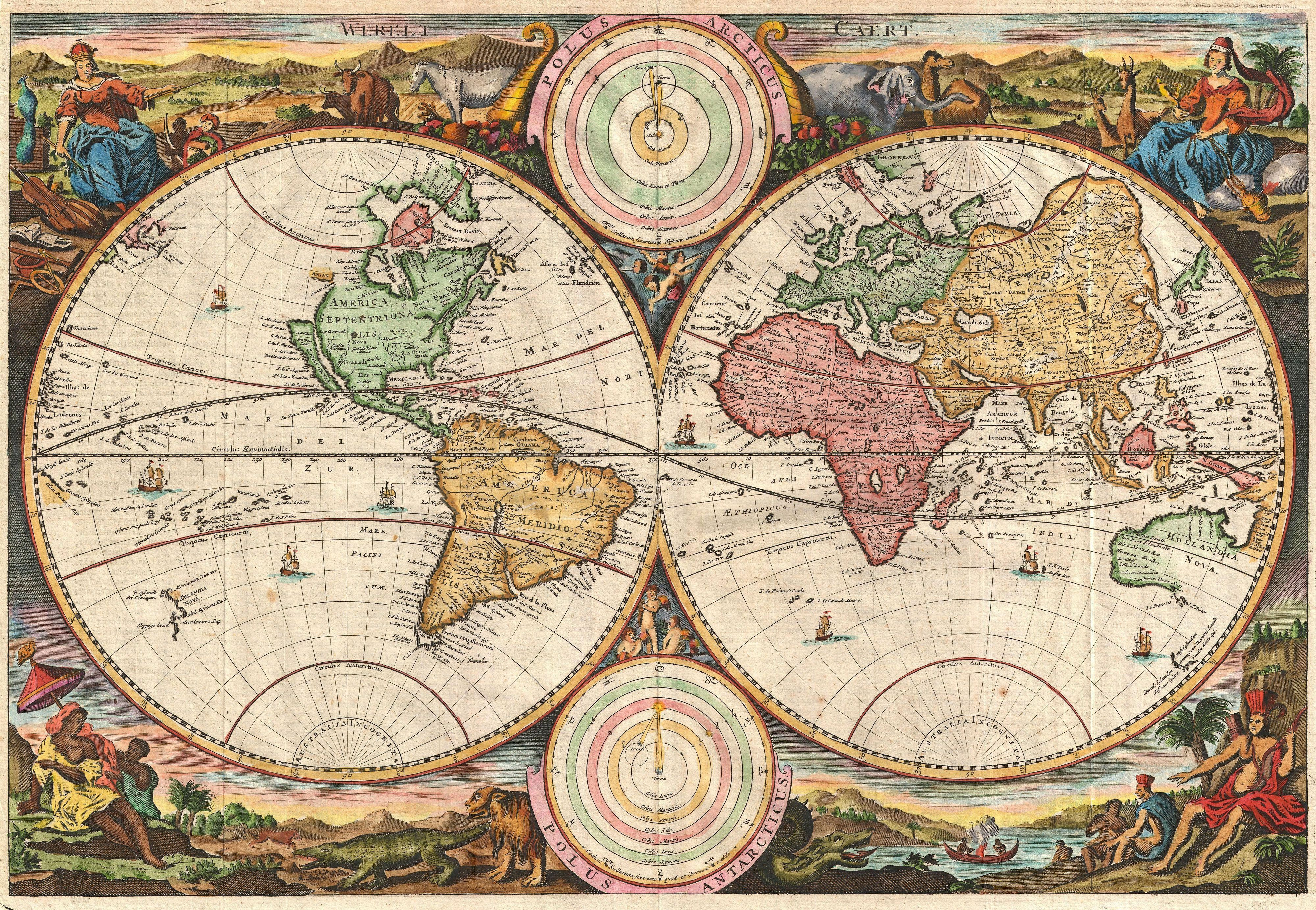 1730 stoopendaal map of the world antique andor cool maps 1730 stoopendaal map of the world gumiabroncs Images