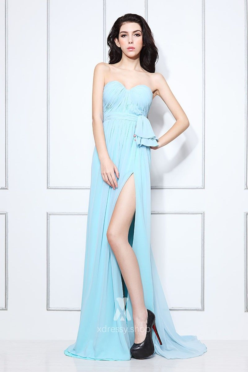 Pleated strapless sweetheart light blue chiffon thighhigh slit a