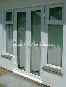 Light Blue Tinted Tempered Glass French Style Aluminium Doors