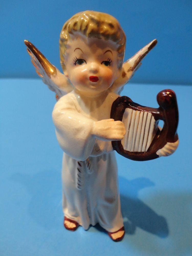Vintage  Napco Christmas Boy Angel with Harp
