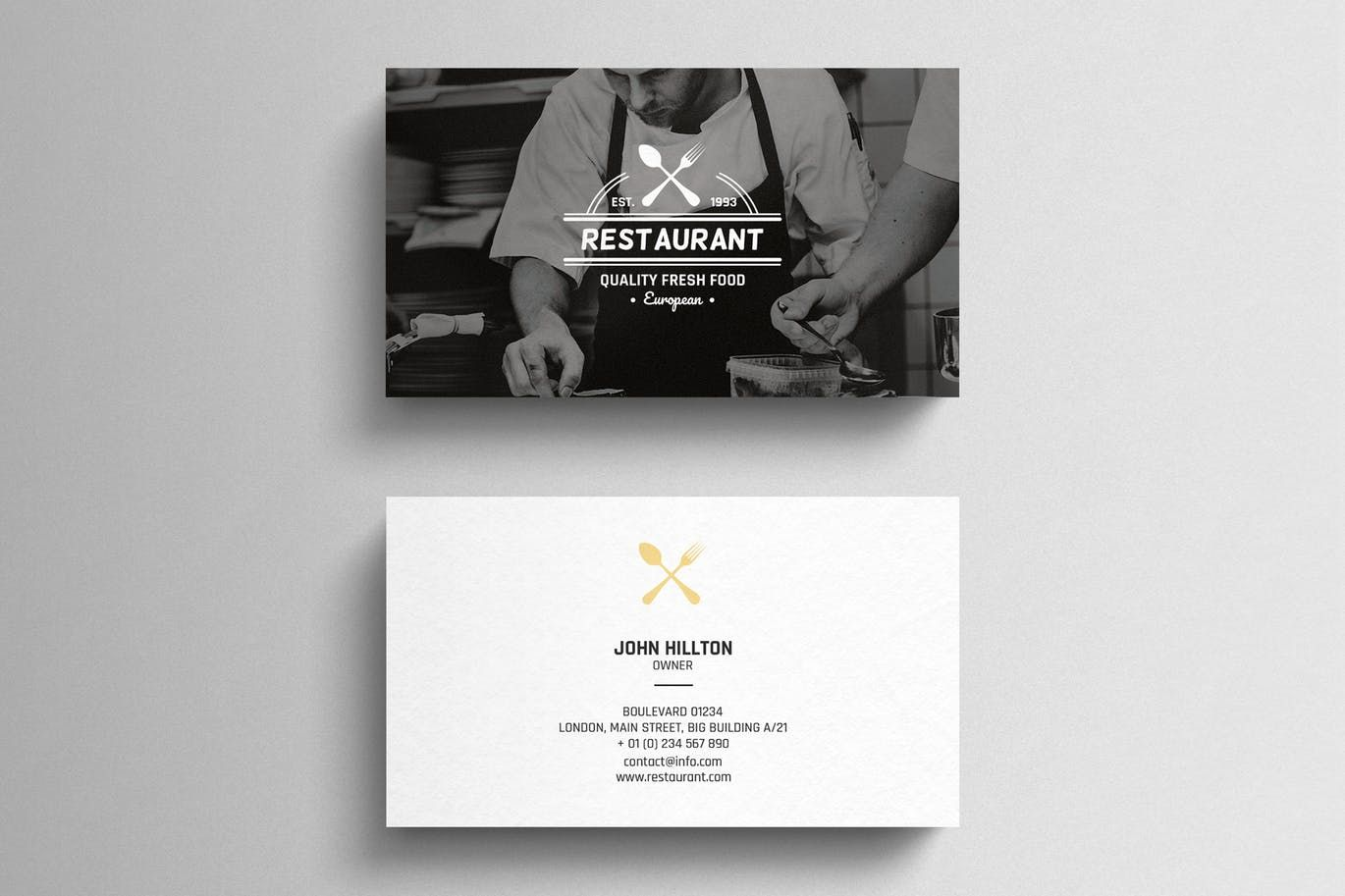 Restaurant Business Card Template By Eightonesixstudios On Envato Elements Restaurant Business Cards Business Card Psd Business Card Template Design