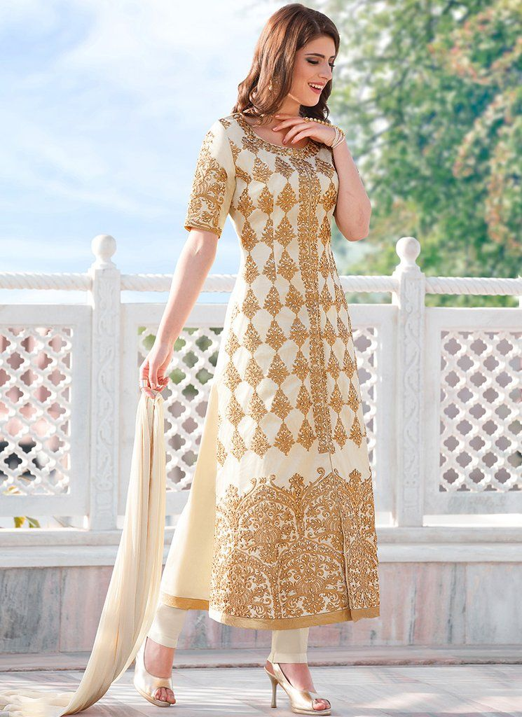 e82dc4aa4f White and Gold Embroidered Cotton Straight Suit | Indian Dresses ...