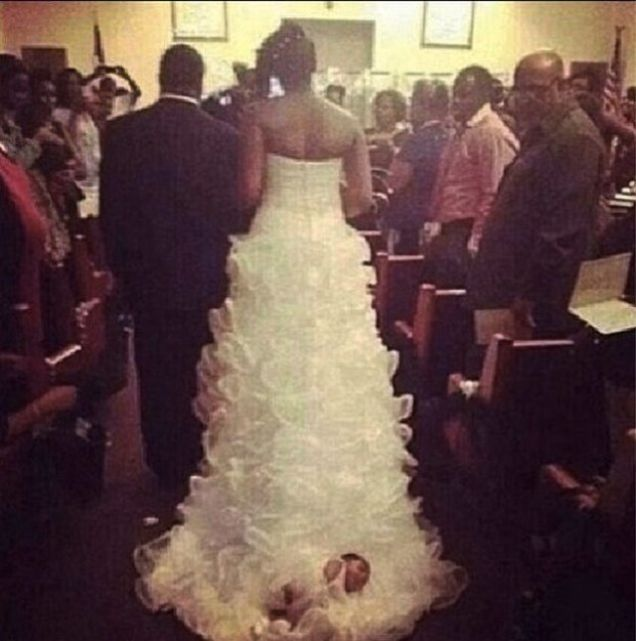 Couple Ties Month Old Baby To Wedding Dress Drags Her Down The Aisle