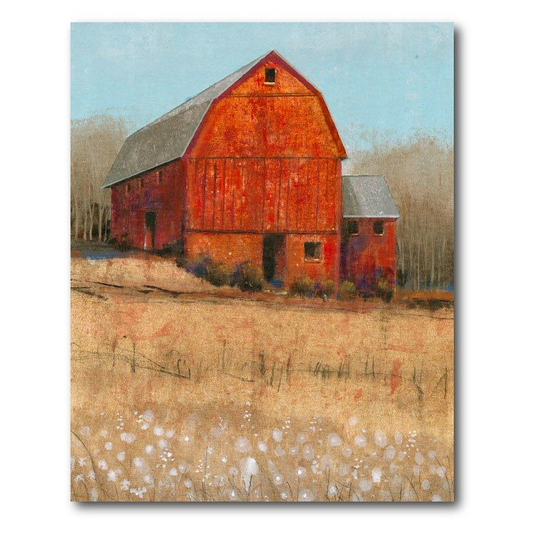 Courtside Market Web Ff837 20x24 Red Barn View I 20 X 24 Gallery Wrapped Canvas Wall Art In 2021 Red Barn Painting Barn Painting Barn Art
