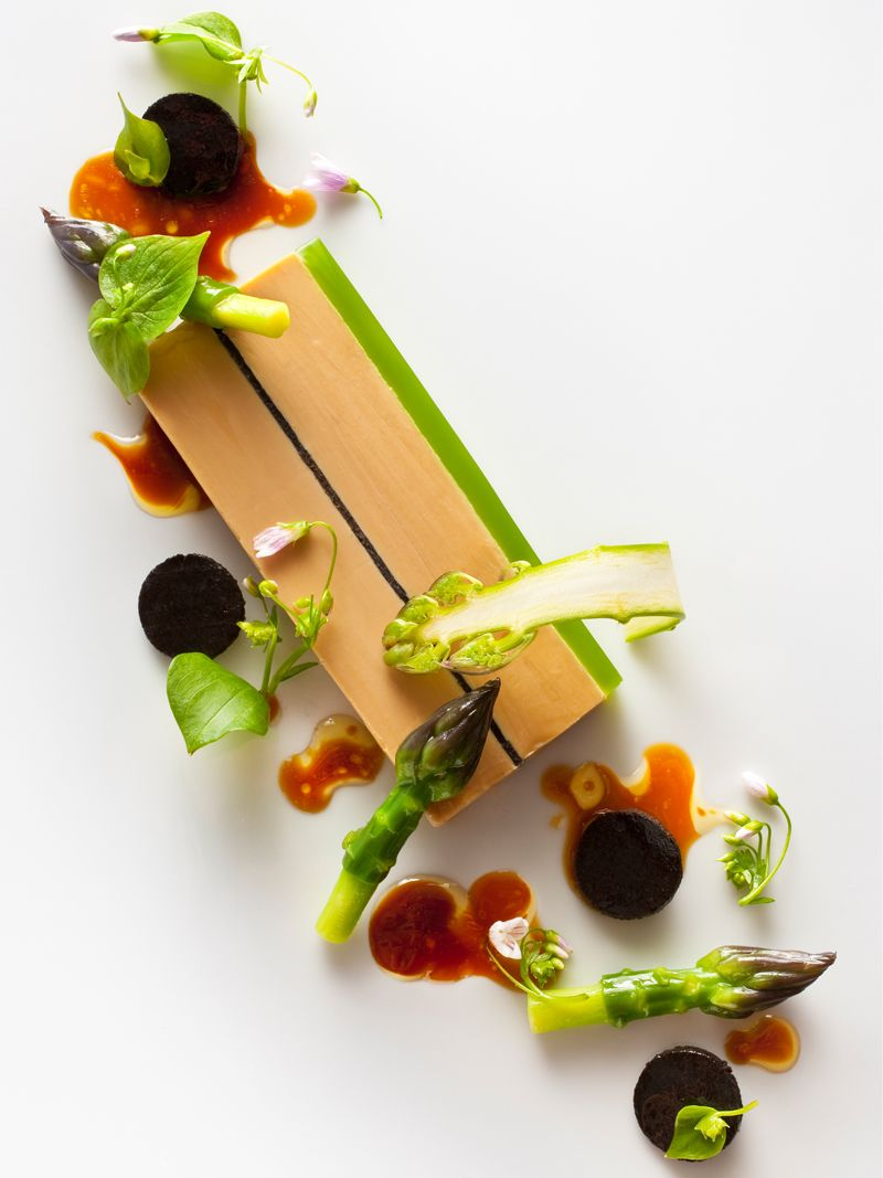 foie gras terrine with green asparagus miner s lettuce. Black Bedroom Furniture Sets. Home Design Ideas