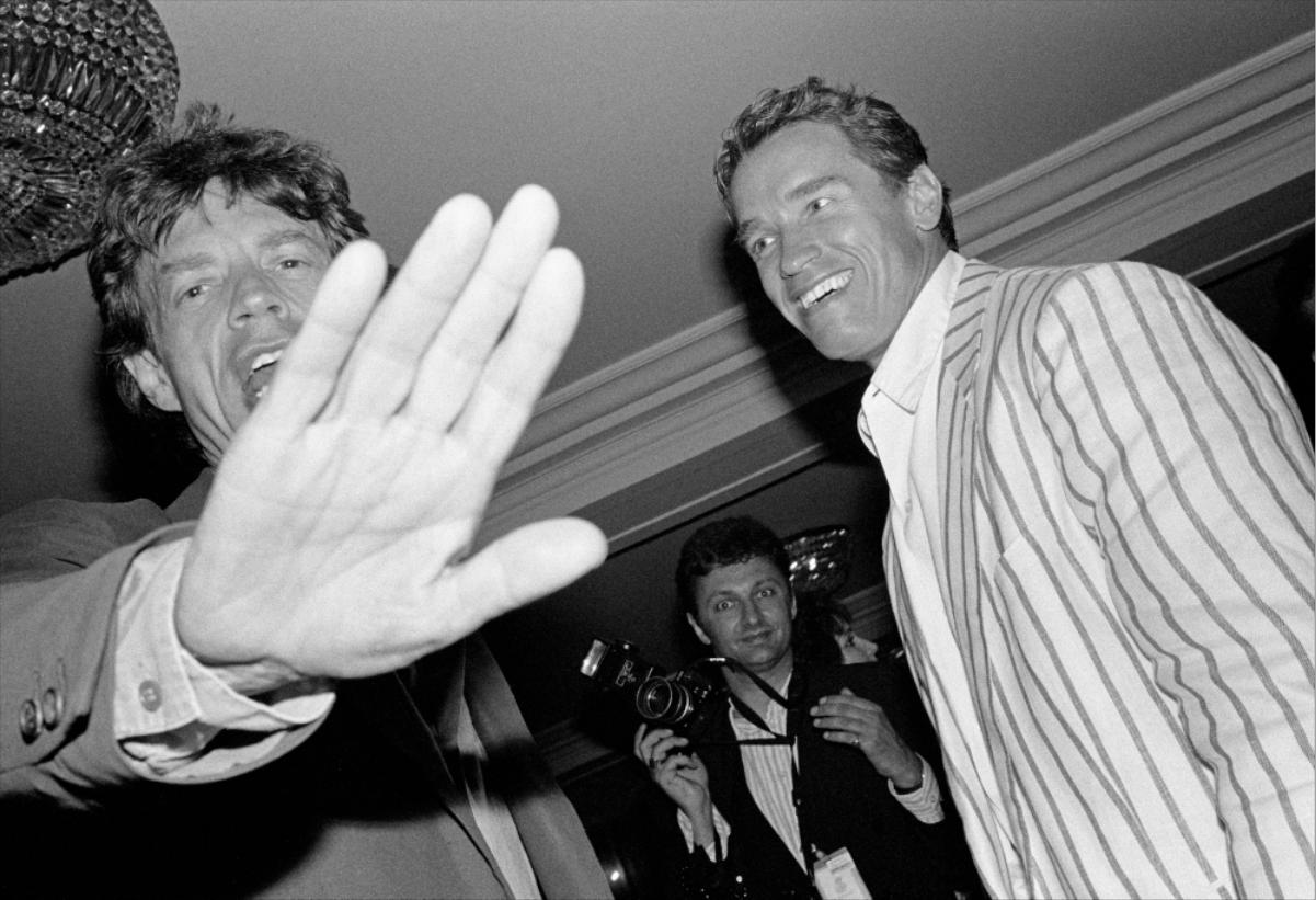 Mick Jagger, Arnold Schwarzenegger, 1990
