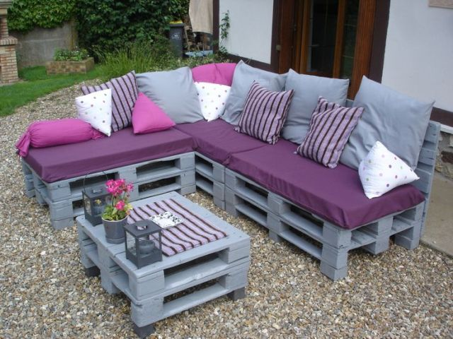 Pallets used as outdoor furniture is a great idea. Just cover or ...
