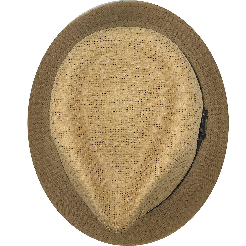 101bb31484466 Mens Summer Fedora Cuban Style Upturn Short Brim Hat - Lt Brown ...