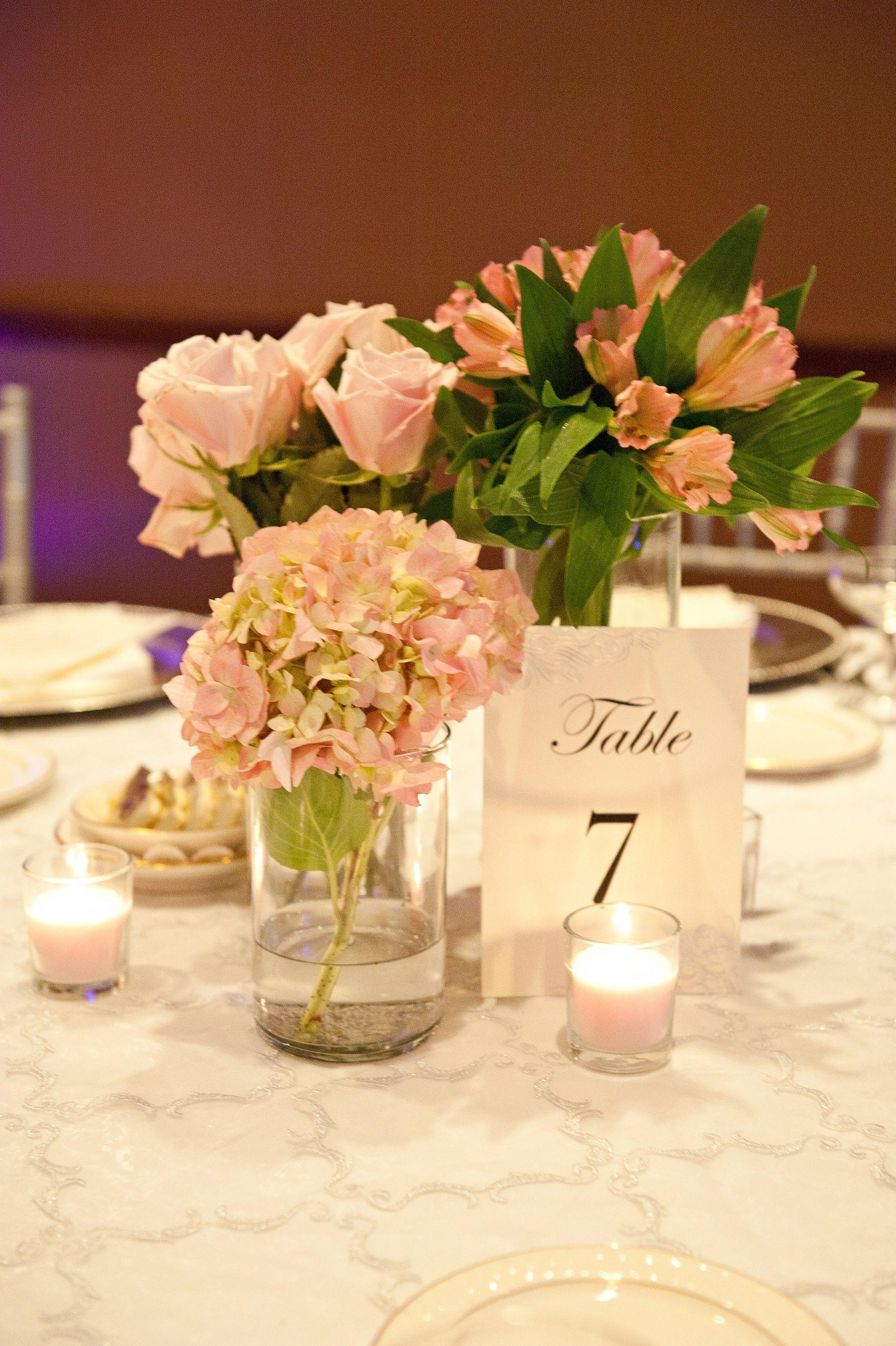 Short centerpieces- Alstromerias, Pink Hydrangea & Pink Roses ...
