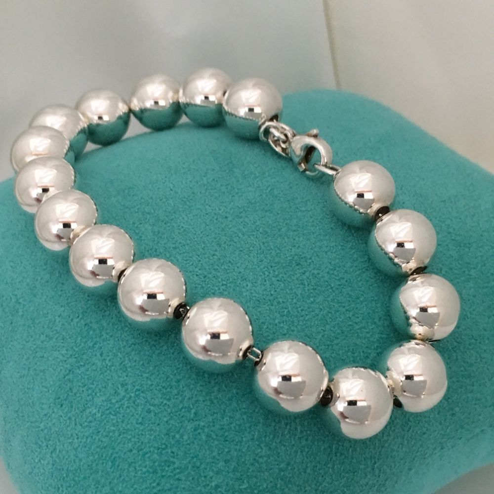 05a54c445 Tiffany & Co Sterling Silver Bead Ball 10mm Bead Bracelet 7.5