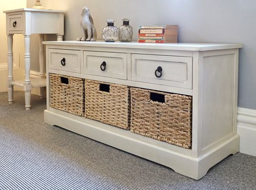 Cream Wooden Hallway Storage Bench and Shoe Store £259