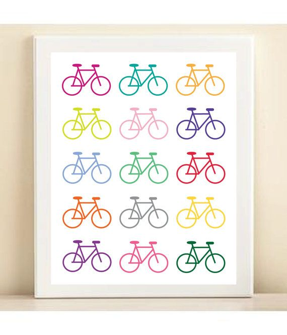 Trend Alert Dalmatian Print Home Decor: Colorful Bicycle Print Poster By AmandaCatherineDes On