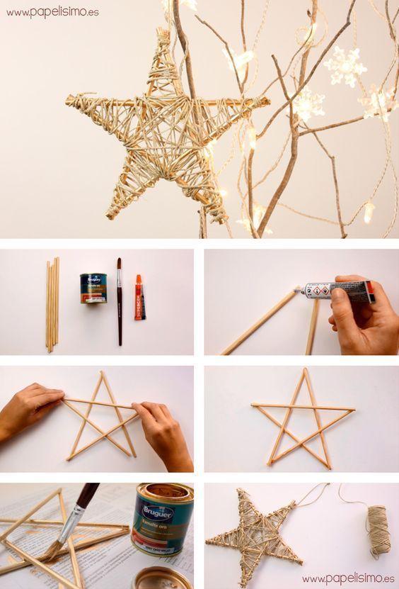 christmas star and tree from wood and thread twine jute yarn como hacer estrella de madera e hilo arbol de navidad