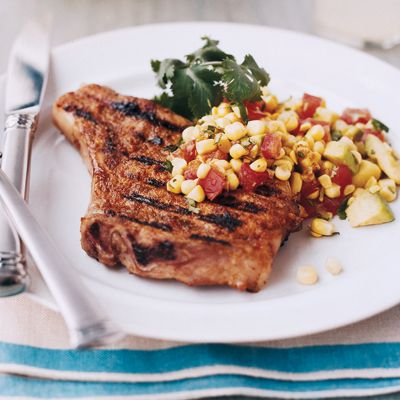 Chipotle Pork Chops with Corn Salad