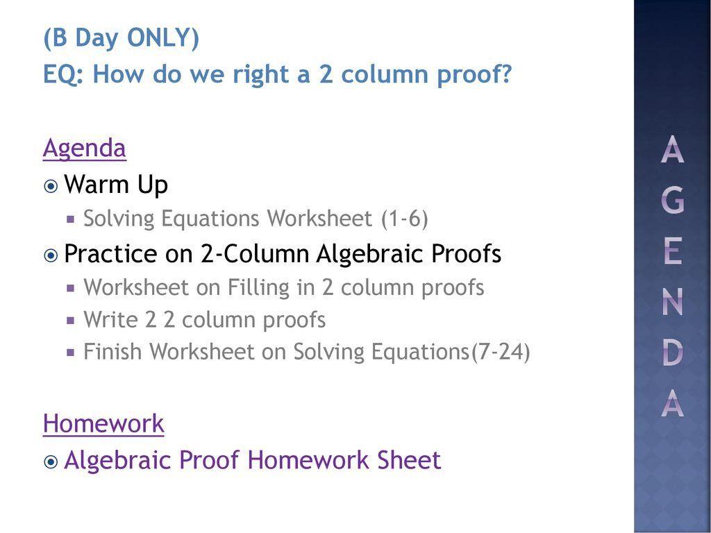 Algebraic Proofs Worksheet With Answers Algebraic Proofs Ppt In 2020 Algebraic Proof Subject And Predicate Worksheets Worksheets