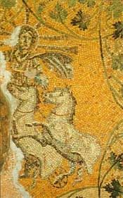 Christ as Helios or Sol Invictus in his solar chariot; 3rd century AD/CE; Mausoleum, St. Peter's, Rome