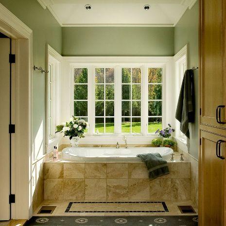 Sage Green Walls Beige Tub Green Bathroom Bathroom Farmhouse Style Traditional Bathroom