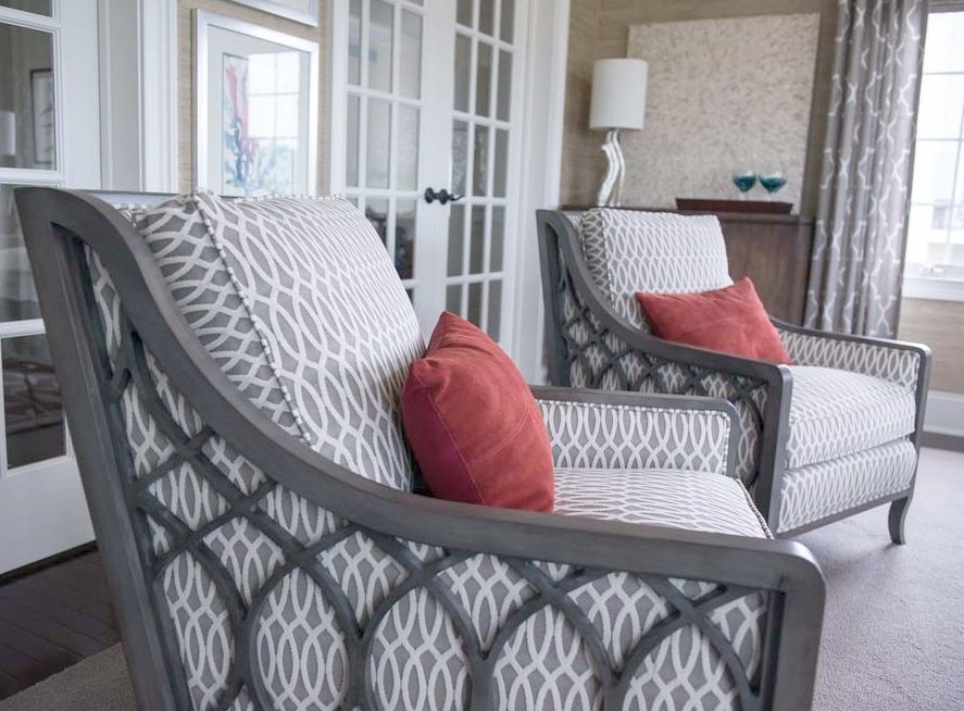 Sam Moore Chairs In Gray Geometric Fabric. Trish Albano Interiors  Love  These Chairs