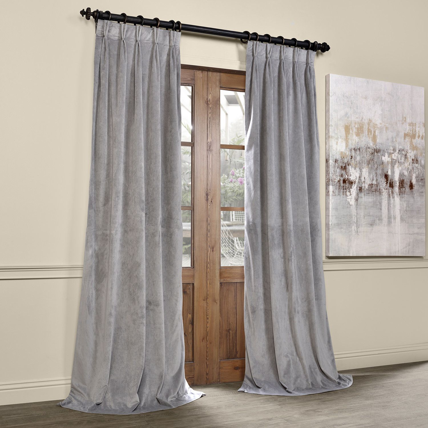 Balone Velvet Solid Blackout Thermal Pinch Pleat Single Curtain Panel Cool Curtains Curtains Drapes Curtains