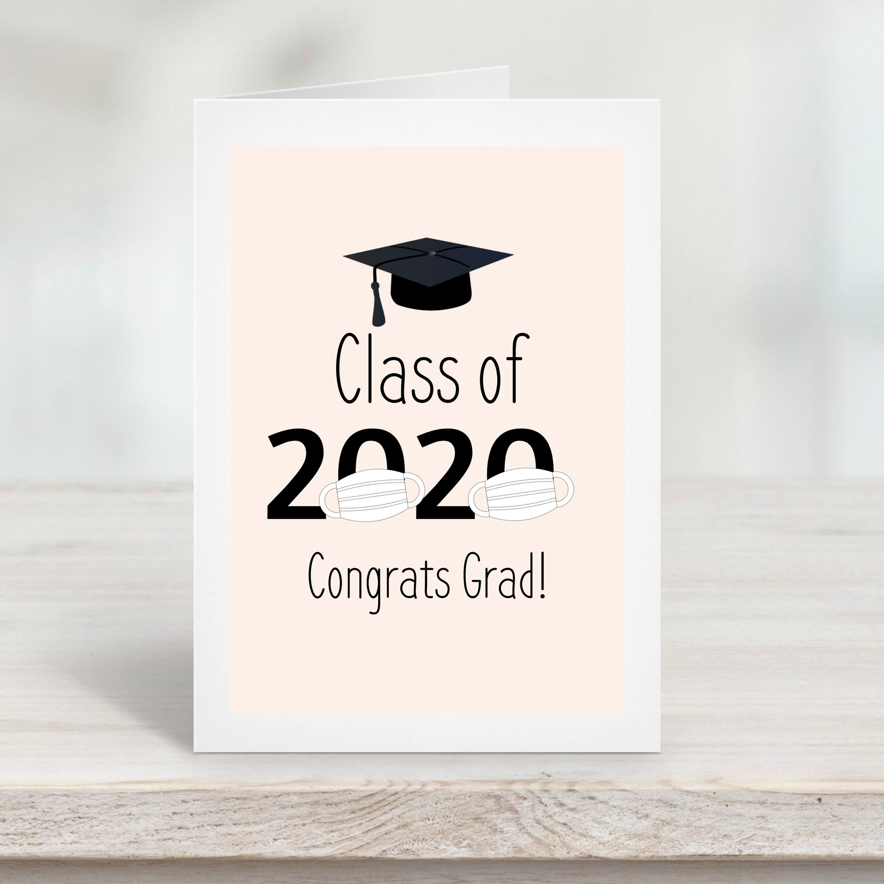 Photo of Graduation Card Template, Class of 2020 Graduation Cap, Simplistic Modern Editable Corjl Template, Grad Celebration
