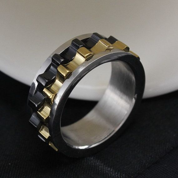 Titanium Black Gears Ring. wonder if he would like it?