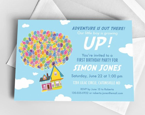 Disney UP Adventure Birthday Party Custom Printable Invitation