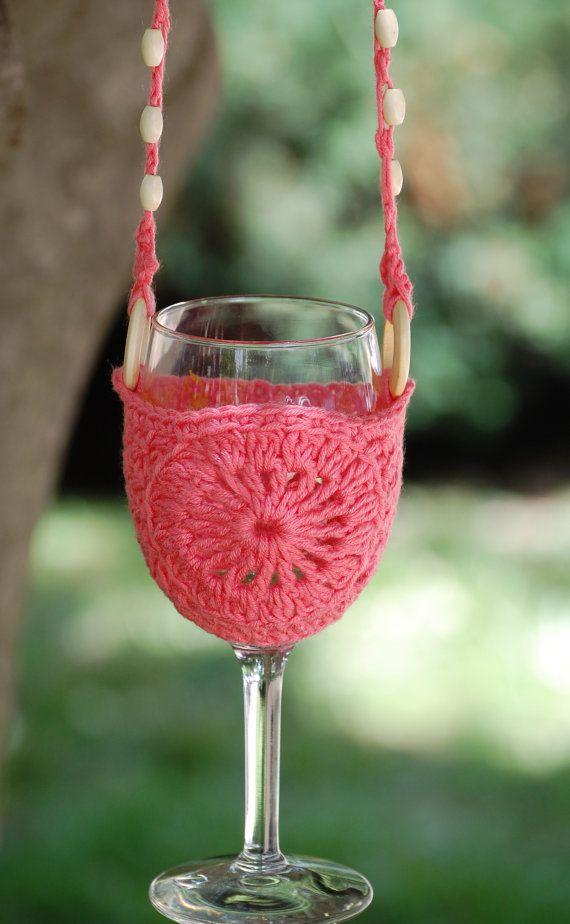 Wine Glass Holder Lanyard Necklace Wine By Crochetbyrkdesigns