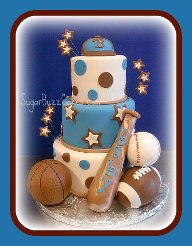 Sports Theme Baby Shower Cake...maybe Red And White Or Black And White