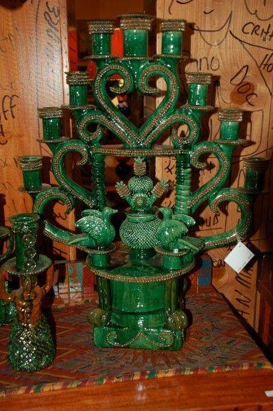 Pedro Hernandez, green glazed ceramic candelabra, San Jose de Gracia, Michoacan, Mexico