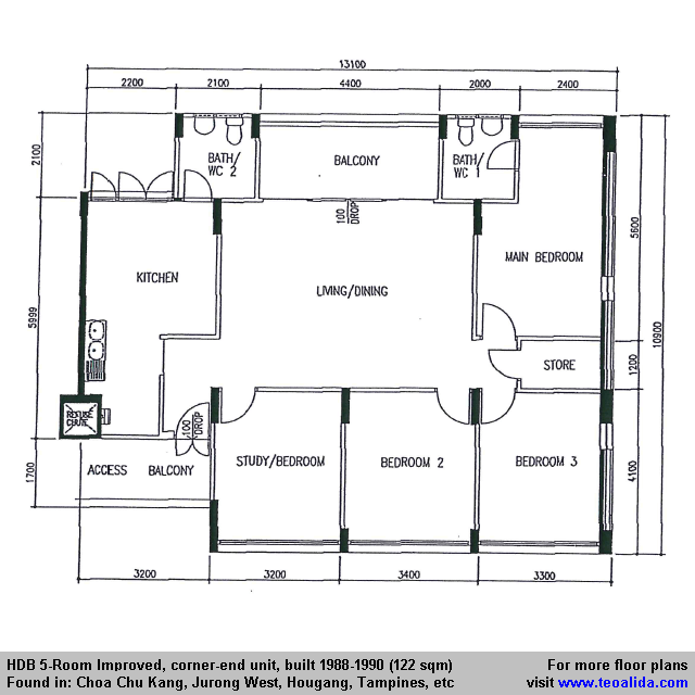 Hdb 5 Room Improved Flat 122 Sqm In 2020 Floor Plans How To Plan Utility Rooms