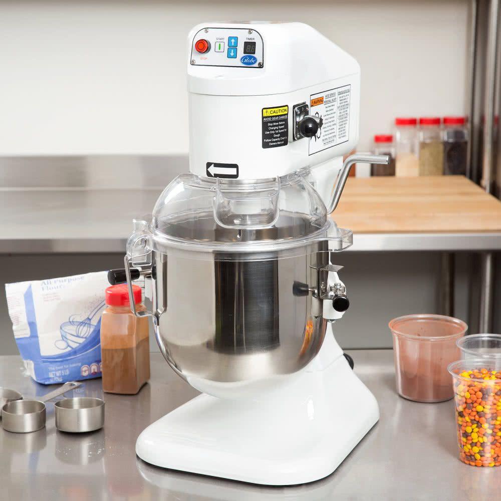 Globe sp08 gear driven 8 qt commercial countertop mixer