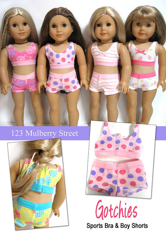 """Pixie Faire 123 Mulberry Street Gotchies Underwear Doll Clothes Pattern Designed to Fit 18"""" Dolls such as American Girl® - PDF"""