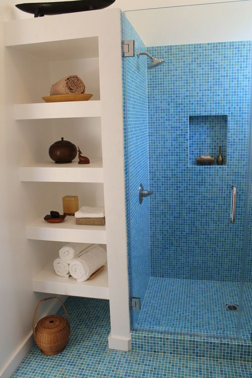 Interesting tile could be the color splash in a small bathroom shower.
