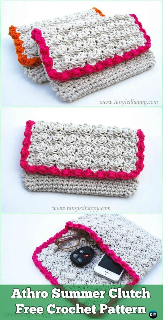Crochet Clutch Bag & Purse Free Patterns Instructions | Bolsos de ...