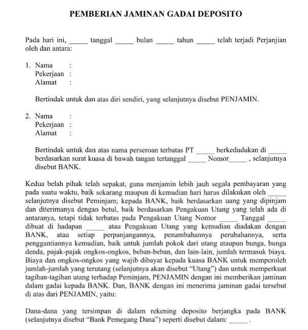 Contoh Surat Perjanjian Pemberian Jaminan Gadai Deposito Yang Resmi